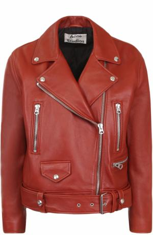 Кожаная куртка с косой молнией Acne Studios. Цвет: красный