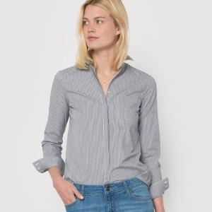 Рубашка из поплина в полоску с длинными рукавами R essentiel. Цвет: в полоску голубой/белый