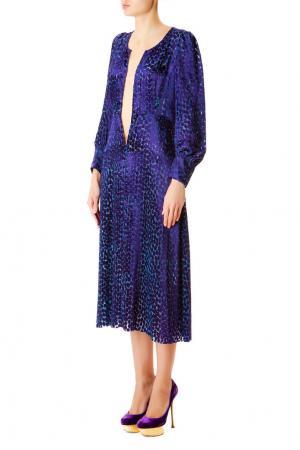 Платье из вискозы с глубоким декольте Junya Watanabe. Цвет: голубой