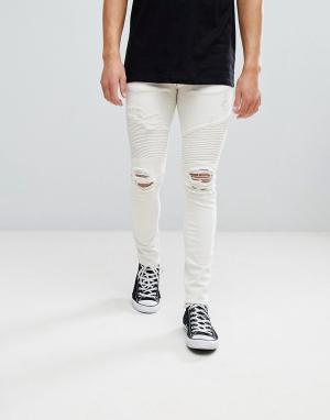 River Island Светло-бежевые байкерские джинсы скинни. Цвет: кремовый