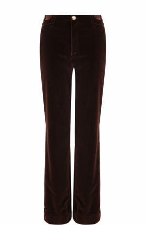 Расклешенные бархатные брюки с отворотами Lanvin. Цвет: коричневый