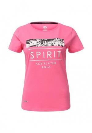 Футболка Anta. Цвет: розовый