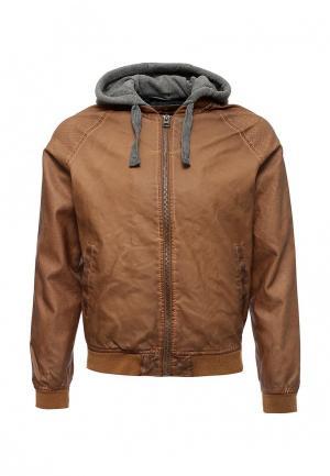 Куртка кожаная Springfield. Цвет: коричневый