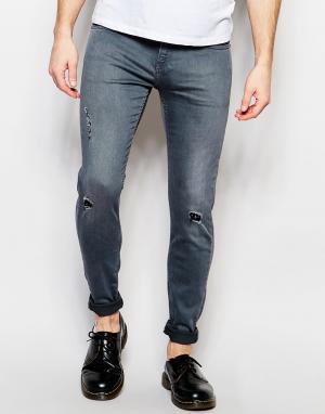 D.I.E Серые супероблегающие джинсы . Storm. Цвет: серый