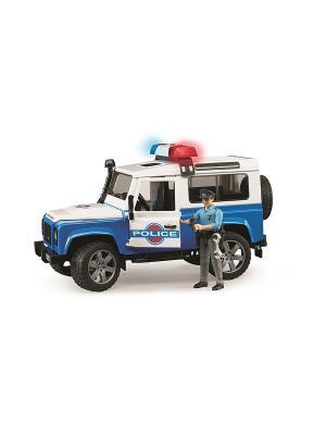 Внедорожник Land Rover Defender Station Wagon Полиция с фигуркой Bruder. Цвет: белый, голубой