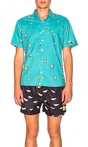 Рубашка pete Ambsn. Цвет: бирюзовый