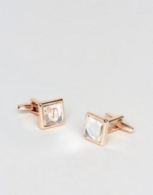 DesignB London Розово-золотистые запонки с камнями эксклюзивно для ASOS. Цвет: золотой