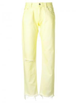 Рваные брюки с карманами Alyx. Цвет: жёлтый и оранжевый