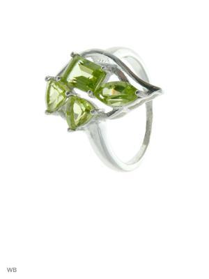 Кольцо PRESHAS SILVER. Цвет: серебристый, оливковый, салатовый
