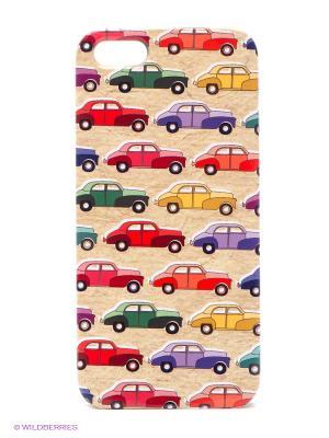 Чехол для IPhone 5 Цветные машинки Mitya Veselkov. Цвет: бежевый, черный
