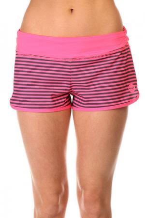 Шорты пляжные женские  Endless Sum2 Pop Pink Stripes Com Roxy. Цвет: розовый,черный