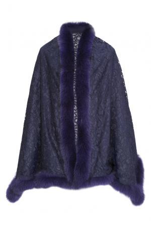 Кружевной палантин с отделкой из меха песца 160525 Kaminsky. Цвет: синий