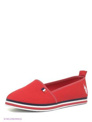 Слипоны U.S. Polo Assn.. Цвет: красный