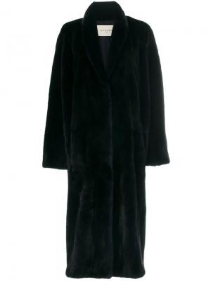 Пальто с мехом норки Sprung Frères. Цвет: чёрный