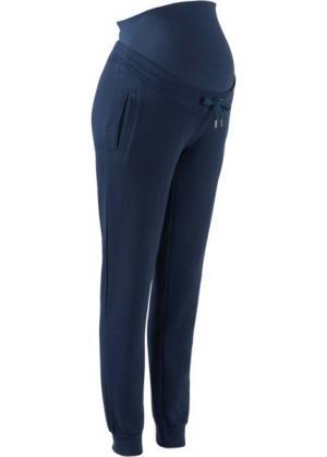 Для будущих и кормящих мам: трикотажные брюки фитнеса (темно-синий) bonprix. Цвет: темно-синий
