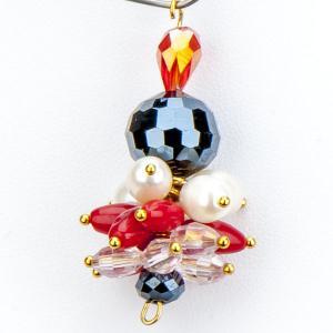 Кулон Джоан коралл, хрусталь, арт. КАП-5805 Бусики-Колечки. Цвет: разноцветный