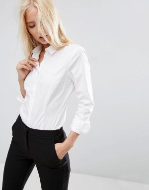 ASOS Рубашка из эластичного хлопка с длинными рукавами DESIGN. Цвет: белый