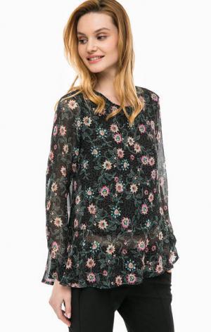 Полупрозрачная блуза с цветочным принтом Cinque. Цвет: черный