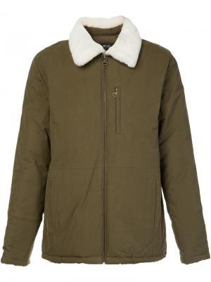 Куртка с меховым воротником A.P.C.. Цвет: зелёный