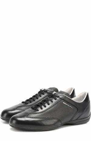 Кожаные кроссовки на шнуровке Santoni. Цвет: черный