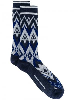 Fair isle knit socks White Mountaineering. Цвет: синий
