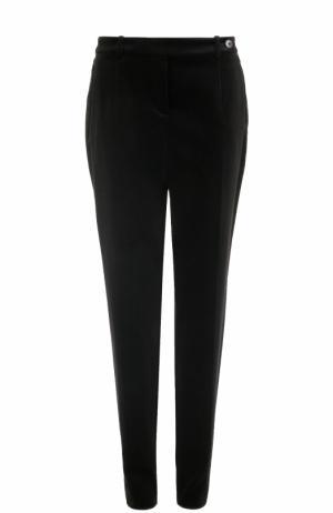 Бархатные брюки прямого кроя Loro Piana. Цвет: черный