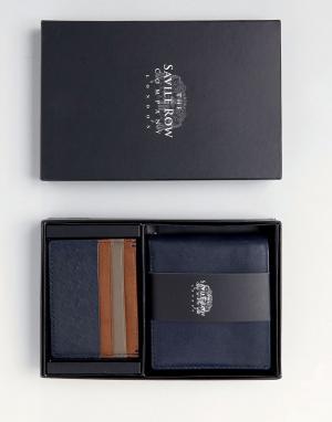 Saville Row Кожаные бумажник и кредитница. Цвет: синий