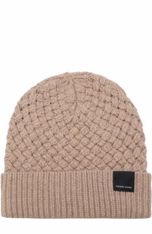 Шерстяная шапка фактурной вязки Canada Goose. Цвет: бежевый