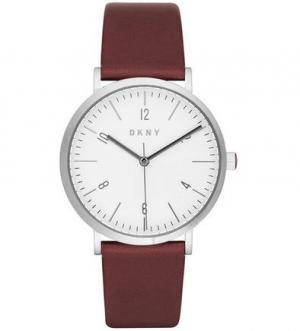Часы с бордовым кожаным браслетом DKNY