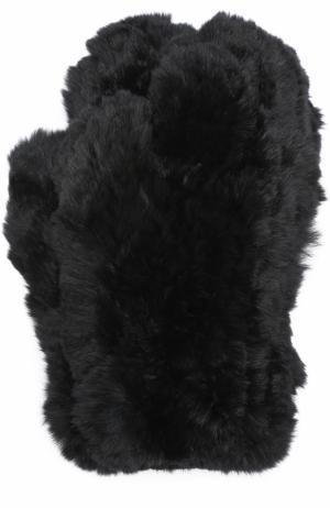 Варежки из меха кролика Yves Salomon. Цвет: черный
