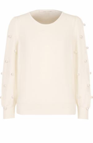 Пуловер из смеси шерсти и кашемира с декором Marc Jacobs. Цвет: кремовый