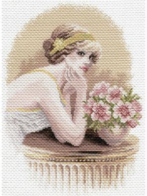 Рисунок на канве Ретро девушка Матренин Посад. Цвет: коричневый, белый