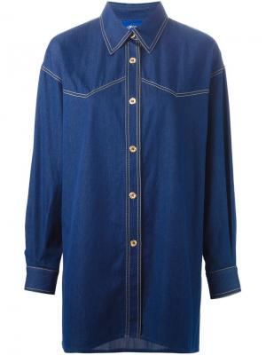 Джинсовая рубашка Guy Laroche Vintage. Цвет: синий