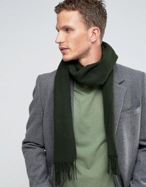 Glen Lossie Зеленый шарф из овечьей шерсти. Цвет: зеленый