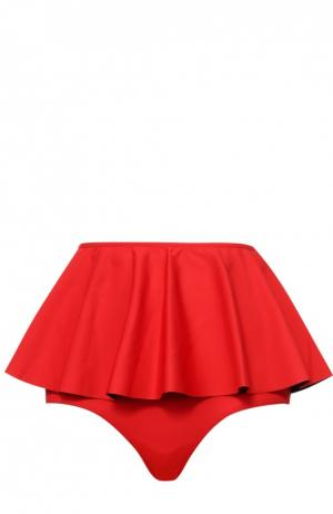 Плавки-бикини со съемной баской NATAYAKIM. Цвет: красный