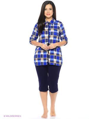 Блузка HomeLike. Цвет: бежевый, синий