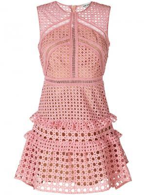 Ажурное платье с оборками Self-Portrait. Цвет: розовый и фиолетовый