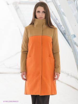 Пальто La Reine Blanche. Цвет: светло-коричневый, оранжевый