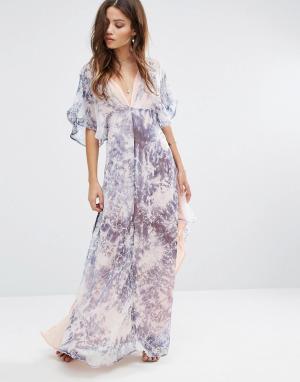 Foxiedox Длинное платье-кимоно Tye. Цвет: синий