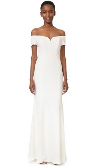 Вечернее платье с короткими рукавами и открытыми плечами Badgley Mischka Collection. Цвет: светлый цвет слоновой кости