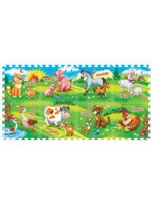 Коврик-пазл играем вместе домашние животные 8 сегментов, каждый 31.5*31.5см. Цвет: голубой, коричневый, оранжевый