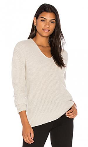 Пуловер из плюша в рубчик с v-образным вырезом White + Warren. Цвет: серый