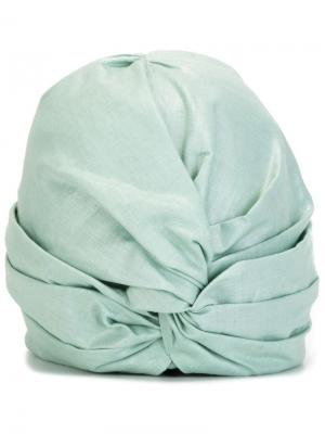 Тюрбан с бляшкой логотипом Super Duper Hats. Цвет: синий