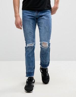 Always Rare Узкие джинсы с дырками на коленях и вставками Clarence. Цвет: синий