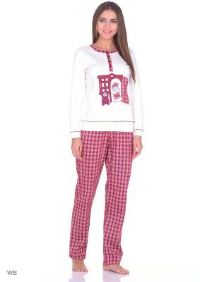 Комплект домашней одежды (кофта, брюки) HomeLike. Цвет: бордовый, молочный