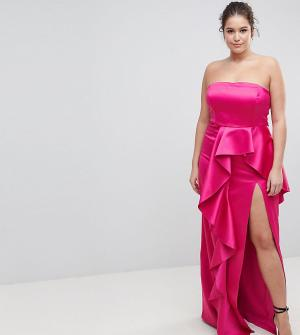 Taller Than Your Average Платье-бандо макси с оборкой TTYA BLACK Plus. Цвет: розовый