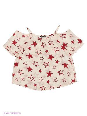 Блузка Sisley Young. Цвет: кремовый, темно-красный, бледно-розовый