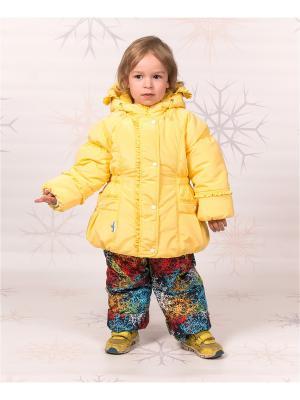 Комплект (куртка, ПК) зимний для девочки Майя GooDvinKids. Цвет: желтый