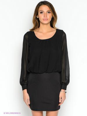 Платье TOPSANDTOPS. Цвет: черный, темно-коричневый