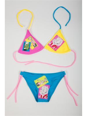 Купальник детский для девочек La Pastel. Цвет: розовый, желтый, голубой